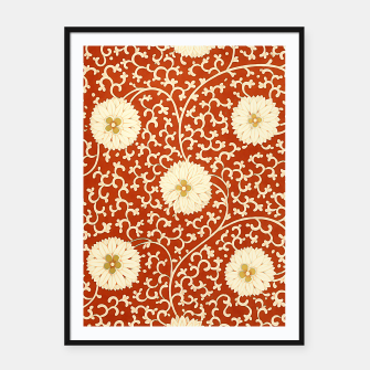 Thumbnail image of cream dahlia pattern - elegant Chinese motifs  Framed poster, Live Heroes