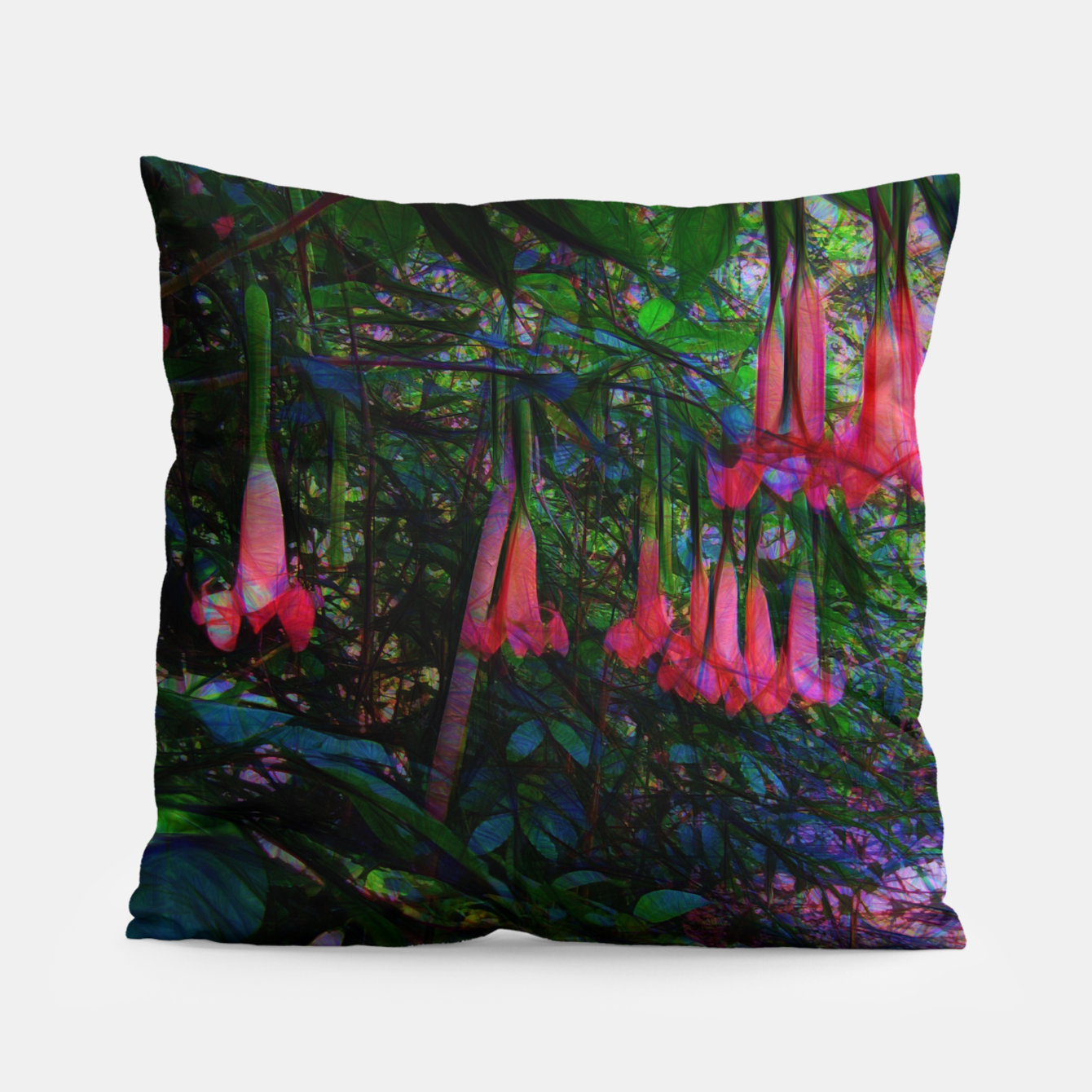 Image of Pink Trumpet Flowers Pillow - Live Heroes
