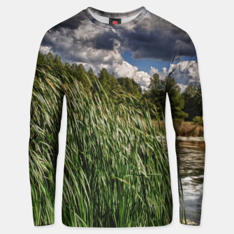Thumbnail image of Reeds Along a Campground Lake Unisex sweater, Live Heroes