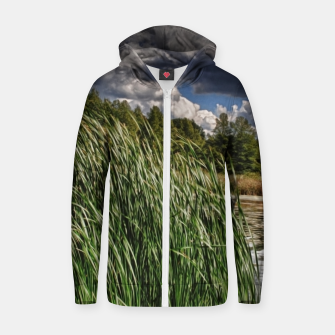 Thumbnail image of Reeds Along a Campground Lake Zip up hoodie, Live Heroes