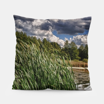 Thumbnail image of Reeds Along a Campground Lake Pillow, Live Heroes