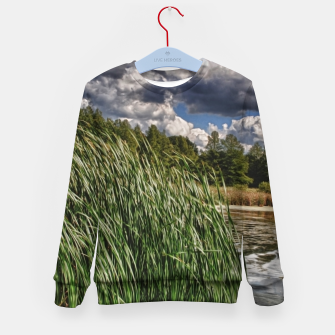 Thumbnail image of Reeds Along a Campground Lake Kid's sweater, Live Heroes