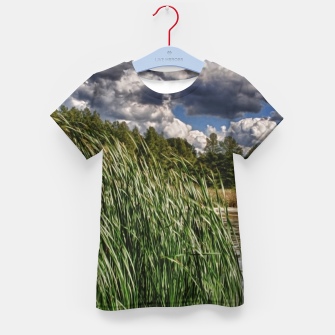 Thumbnail image of Reeds Along a Campground Lake Kid's t-shirt, Live Heroes
