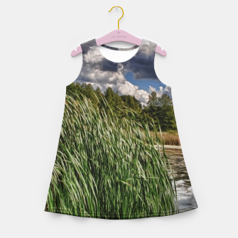 Thumbnail image of Reeds Along a Campground Lake Girl's summer dress, Live Heroes