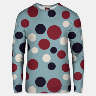 Thumbnail image of Red and Dark blue Dots on Blue Unisex sweater, Live Heroes