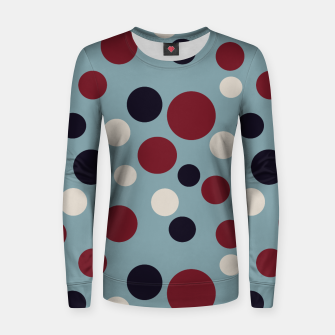 Thumbnail image of Red and Dark blue Dots on Blue Women sweater, Live Heroes
