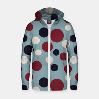Thumbnail image of Red and Dark blue Dots on Blue Zip up hoodie, Live Heroes