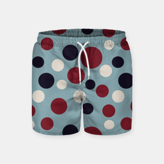 Thumbnail image of Red and Dark blue Dots on Blue Swim Shorts, Live Heroes