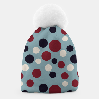 Thumbnail image of Red and Dark blue Dots on Blue Beanie, Live Heroes