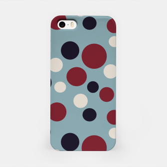 Thumbnail image of Red and Dark blue Dots on Blue iPhone Case, Live Heroes