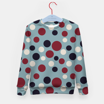 Thumbnail image of Red and Dark blue Dots on Blue Kid's sweater, Live Heroes
