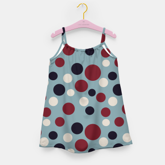Thumbnail image of Red and Dark blue Dots on Blue Girl's dress, Live Heroes
