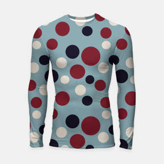 Thumbnail image of Red and Dark blue Dots on Blue Longsleeve rashguard , Live Heroes