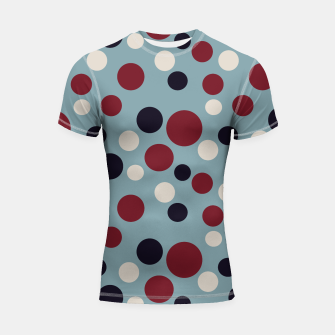 Thumbnail image of Red and Dark blue Dots on Blue Shortsleeve rashguard, Live Heroes
