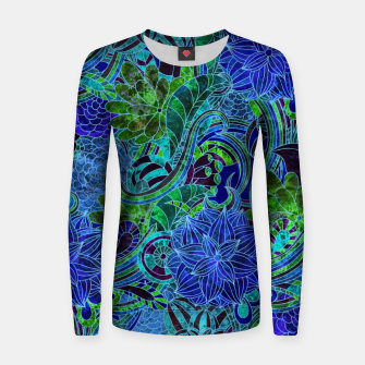 Thumbnail image of Blue Floral Pattern Women sweater, Live Heroes