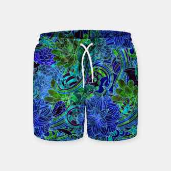 Thumbnail image of Blue Floral Pattern Swim Shorts, Live Heroes