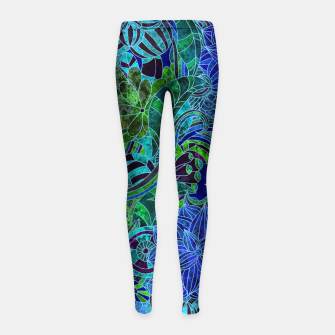 Thumbnail image of Blue Floral Pattern Girl's leggings, Live Heroes