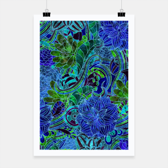 Thumbnail image of Blue Floral Pattern Poster, Live Heroes