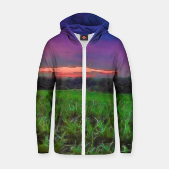 Thumbnail image of Sunset Over a Cornfield Zip up hoodie, Live Heroes