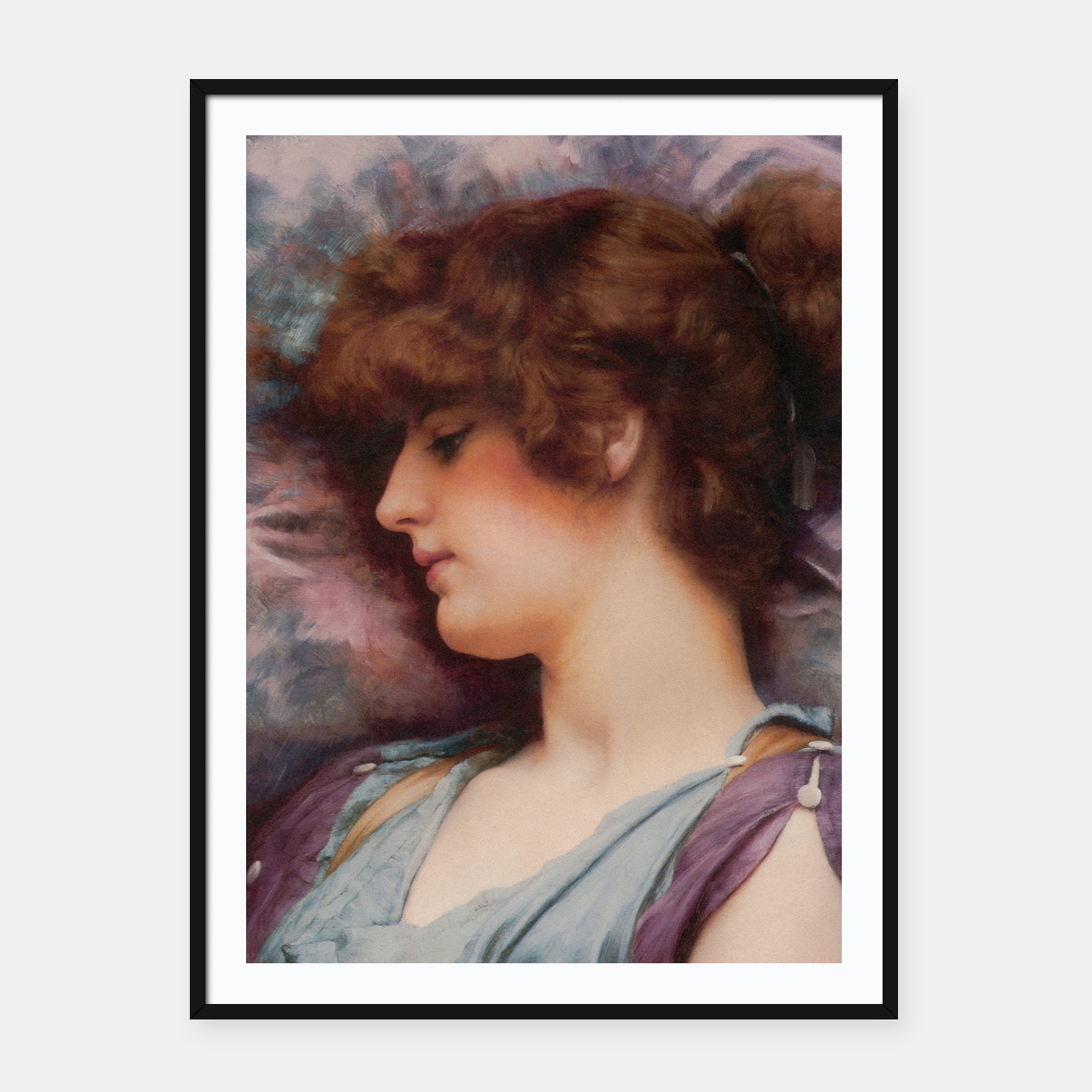 Image of Far Away Thoughts by John William Godward Framed poster - Live Heroes