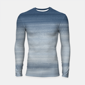 Thumbnail image of Touching Navy Blue Watercolor Abstract #1 #painting #decor #art  Longsleeve rashguard, Live Heroes