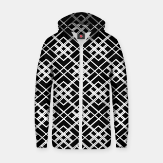 Thumbnail image of Abstract geometric pattern - black and white. Zip up hoodie, Live Heroes