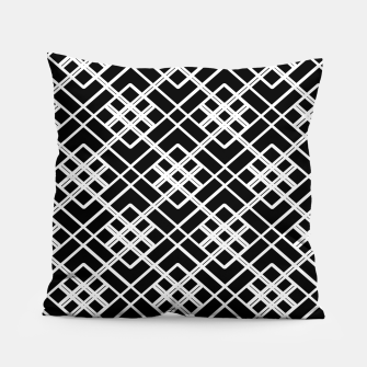 Thumbnail image of Abstract geometric pattern - black and white. Pillow, Live Heroes