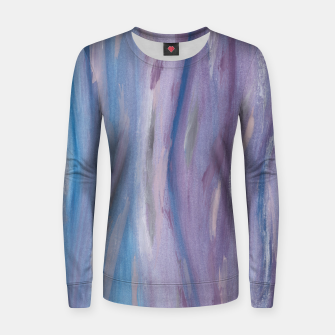Thumbnail image of Touching Purple Blue Watercolor Abstract #2 #painting #decor #art Frauen sweatshirt, Live Heroes