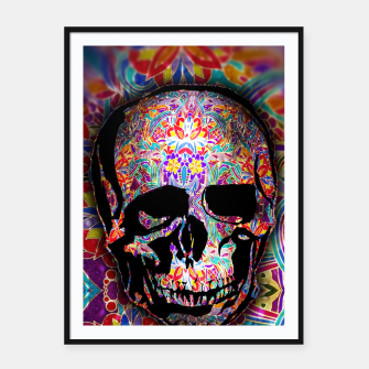 Thumbnail image of Skull With Floral Pattern Framed poster, Live Heroes