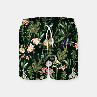 Thumbnail image of Dark Botanical Garden Swim Shorts, Live Heroes