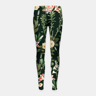Thumbnail image of Dark Botanical Garden Girl's leggings, Live Heroes
