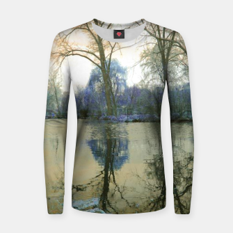 Thumbnail image of Sunset in Yellow on The Lake Women sweater, Live Heroes