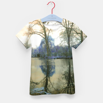 Thumbnail image of Sunset in Yellow on The Lake Kid's t-shirt, Live Heroes