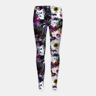 Skull in dark bloom Leggings para niña thumbnail image