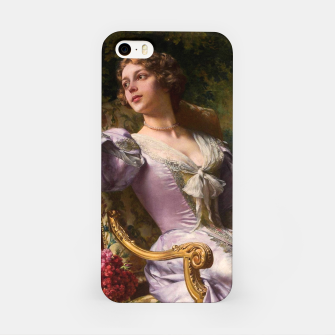 Thumbnail image of A Lady In A Lilac Dress With Flowers by Władysław Czachórski iPhone Case, Live Heroes