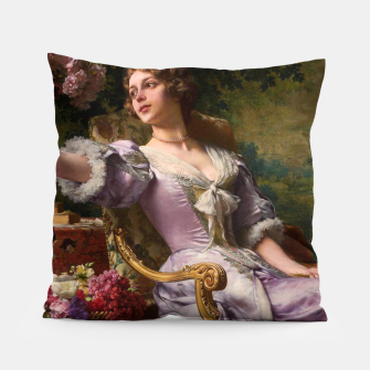 Thumbnail image of A Lady In A Lilac Dress With Flowers by Władysław Czachórski Pillow, Live Heroes