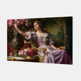 Thumbnail image of A Lady In A Lilac Dress With Flowers by Władysław Czachórski Canvas, Live Heroes