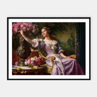 Thumbnail image of A Lady In A Lilac Dress With Flowers by Władysław Czachórski Framed poster, Live Heroes
