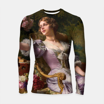 Thumbnail image of A Lady In A Lilac Dress With Flowers by Władysław Czachórski Longsleeve rashguard , Live Heroes