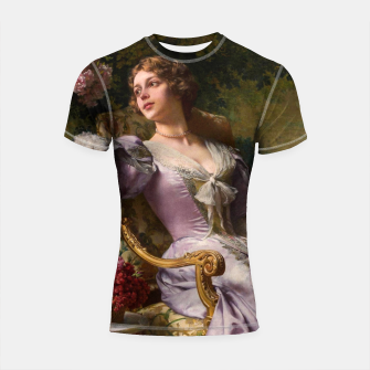 Thumbnail image of A Lady In A Lilac Dress With Flowers by Władysław Czachórski Shortsleeve rashguard, Live Heroes