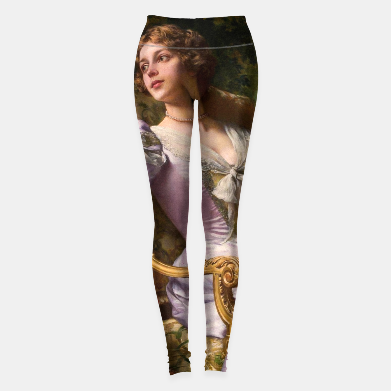 Image of A Lady In A Lilac Dress With Flowers by Władysław Czachórski Leggings - Live Heroes