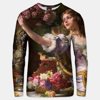 Thumbnail image of A Lady In A Lilac Dress With Flowers by Władysław Czachórski Unisex sweater II, Live Heroes