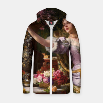Miniaturka A Lady In A Lilac Dress With Flowers by Władysław Czachórski Zip up hoodie II, Live Heroes
