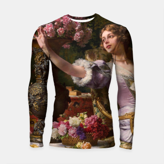 Thumbnail image of A Lady In A Lilac Dress With Flowers by Władysław Czachórski Longsleeve rashguard  II, Live Heroes