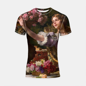Thumbnail image of A Lady In A Lilac Dress With Flowers by Władysław Czachórski Shortsleeve rashguard II, Live Heroes