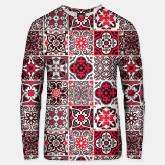 Thumbnail image of Red Lovely Moroccan Tiles Design. Unisex sweater, Live Heroes
