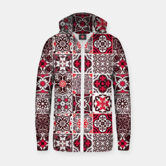 Thumbnail image of Red Lovely Moroccan Tiles Design. Zip up hoodie, Live Heroes