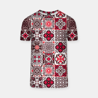 Miniatur Red Lovely Moroccan Tiles Design. T-shirt, Live Heroes