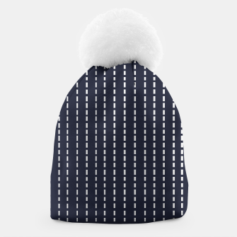 Thumbnail image of Dotted Lines on Dark Blue Beanie, Live Heroes