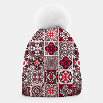 Thumbnail image of Red Lovely Moroccan Tiles Design. Beanie, Live Heroes